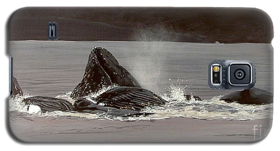 Whale Galaxy S5 Case featuring the painting Whales Feeding by Shawn Stallings