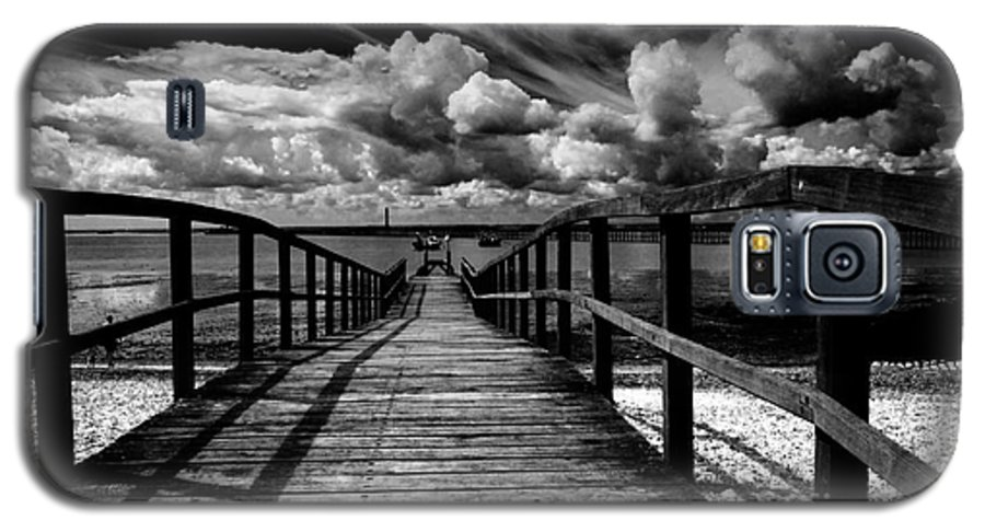 Southend On Sea Wharf Clouds Beach Sand Galaxy S5 Case featuring the photograph Wharf At Southend On Sea by Sheila Smart Fine Art Photography