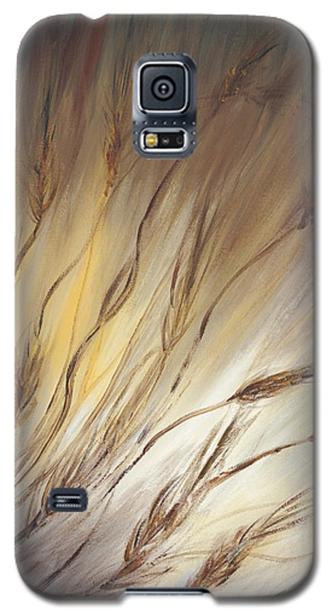 Wheat Galaxy S5 Case featuring the painting Wheat In The Wind by Nadine Rippelmeyer