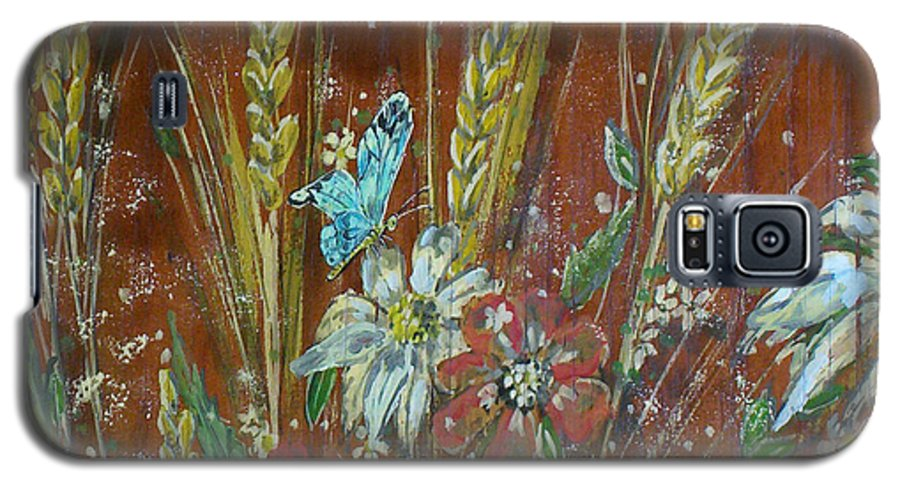 Flowers Galaxy S5 Case featuring the painting Wheat 'n' Wildflowers I by Phyllis Mae Richardson Fisher