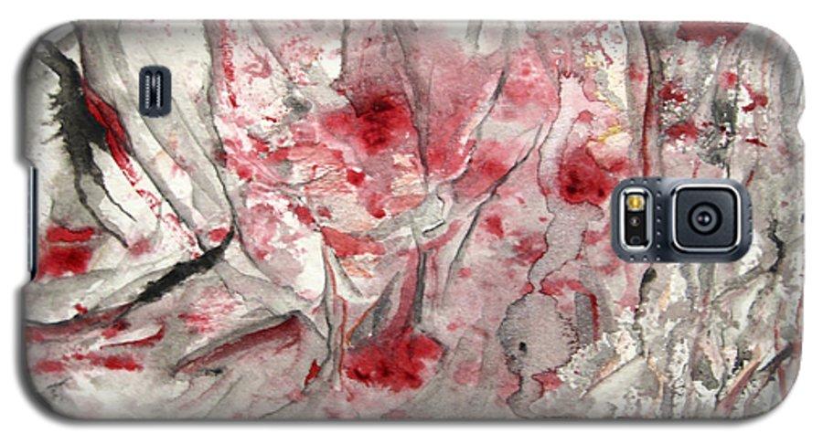 Abstract Black Darkestartist It Painting Pops Red Watercolor When Darkest Artist Galaxy S5 Case featuring the painting When It Pops by Darkest Artist