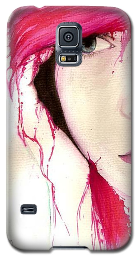 Pink Girl Galaxy S5 Case featuring the drawing Where Do You Think Beauty Goes by Freja Friborg