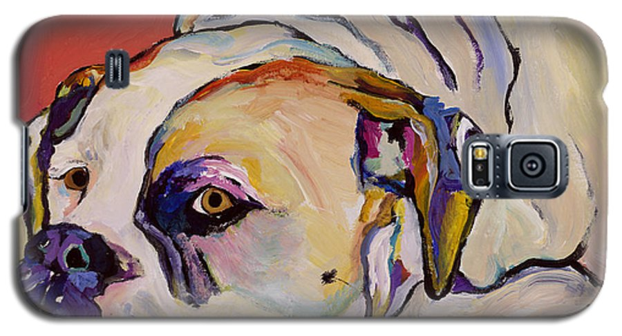 American Bulldog Galaxy S5 Case featuring the painting Where Is My Dinner by Pat Saunders-White