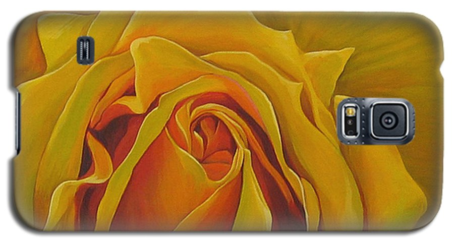 Yellow Rose Galaxy S5 Case featuring the painting Where The Rose Is Sown by Hunter Jay
