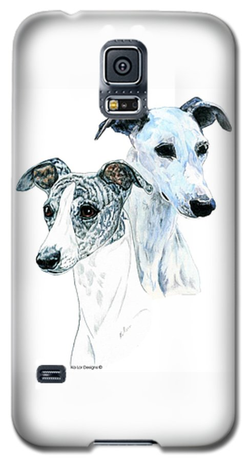 Whippet Galaxy S5 Case featuring the painting Whippet Pair by Kathleen Sepulveda