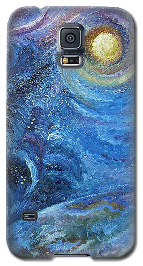 Baby Lambs Galaxy S5 Case featuring the painting White Baby Lambs Of Peaceful Nights by Karina Ishkhanova