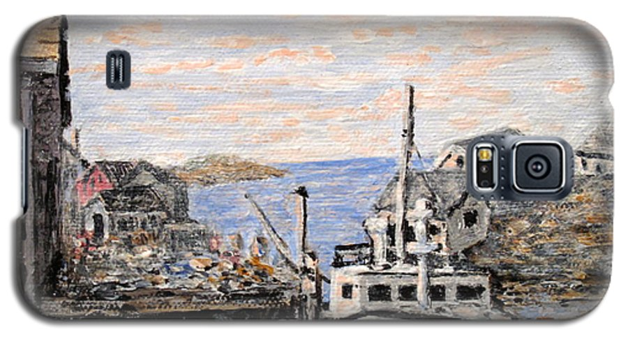 White Galaxy S5 Case featuring the painting White Boat In Peggys Cove Nova Scotia by Ian MacDonald