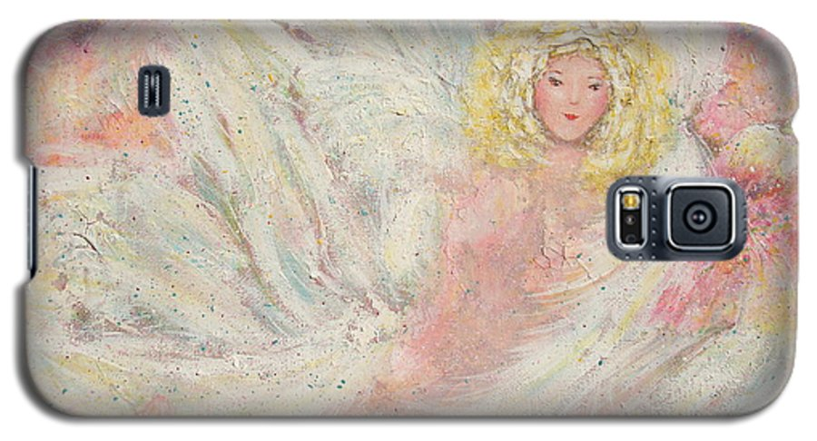 Angel Galaxy S5 Case featuring the painting White Feathers Secret Garden Angel 4 by Natalie Holland