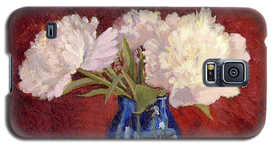 Peonies Galaxy S5 Case featuring the painting White Peonies by Keith Burgess