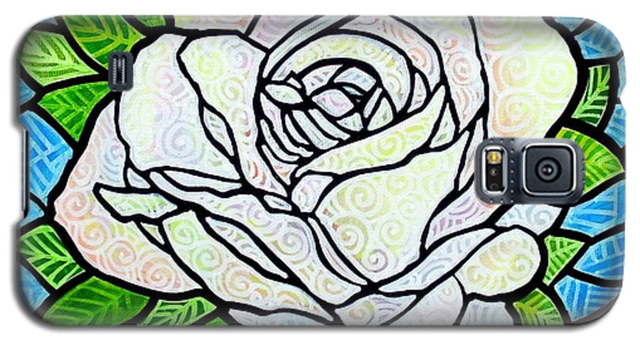 White Galaxy S5 Case featuring the painting White Rose by Jim Harris