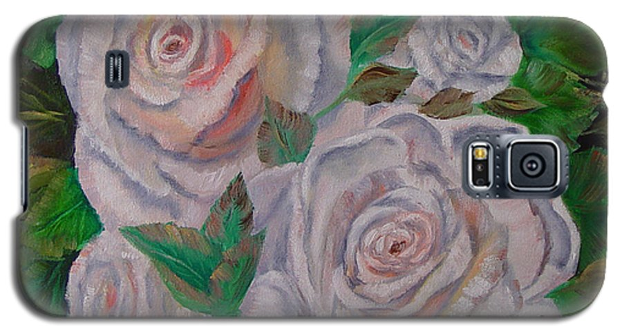 Roses Galaxy S5 Case featuring the painting White Roses by Quwatha Valentine
