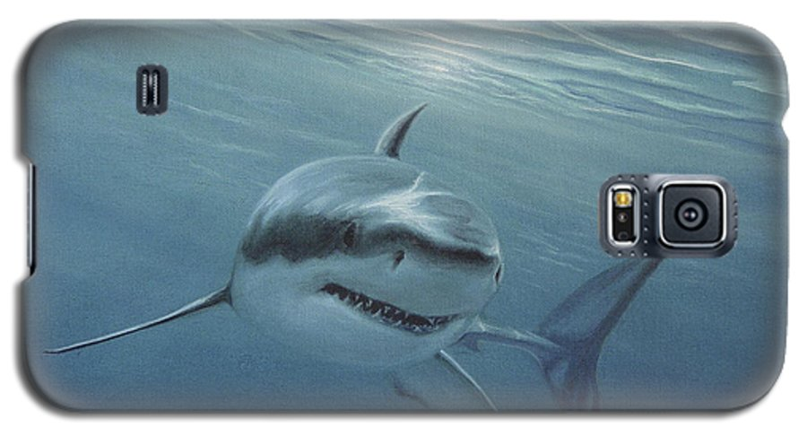Shark Galaxy S5 Case featuring the painting White Shark by Angel Ortiz