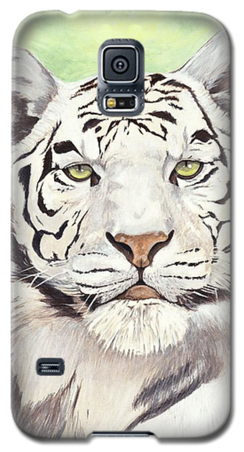 Tiger Galaxy S5 Case featuring the painting White Silence by Shawn Stallings