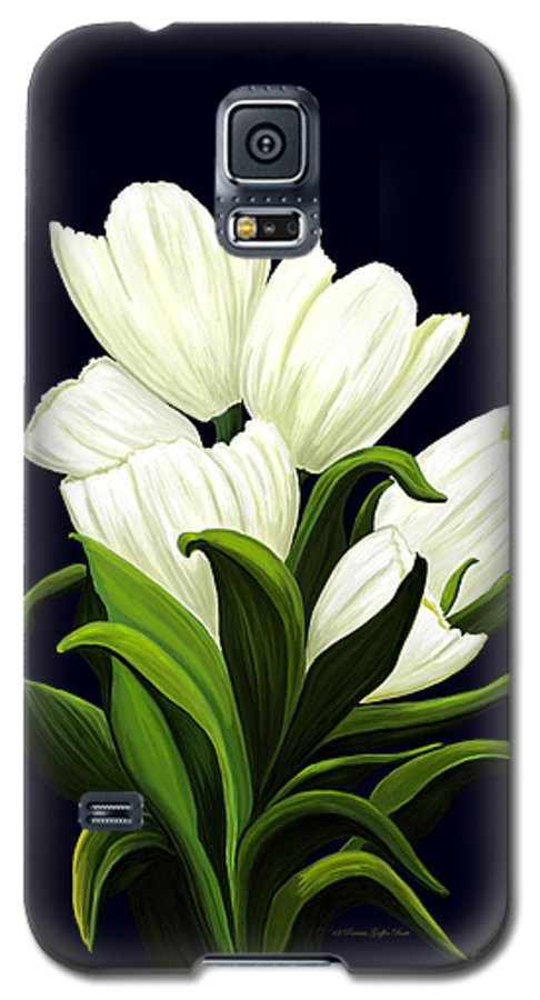 Mixed Media Galaxy S5 Case featuring the painting White Tulips by Patricia Griffin Brett
