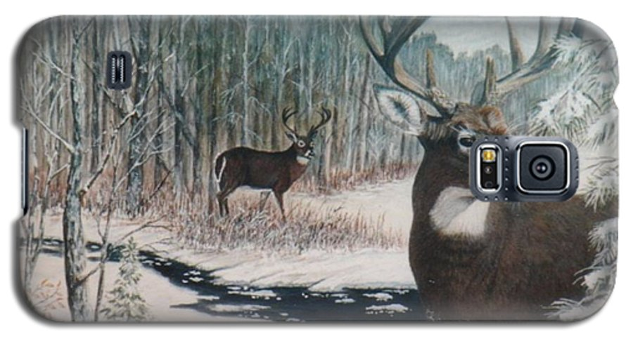 Deer; Snow; Creek Galaxy S5 Case featuring the painting Whitetail Deer by Ben Kiger