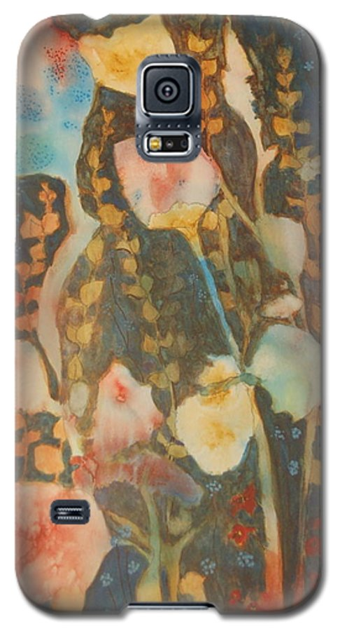 Flower Abstract Galaxy S5 Case featuring the painting wild flowers in the wind I by Henny Dagenais
