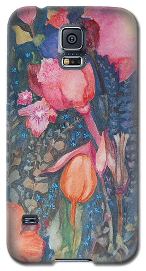 Flower Abstract Galaxy S5 Case featuring the painting Wild Flowers In The Wind II by Henny Dagenais