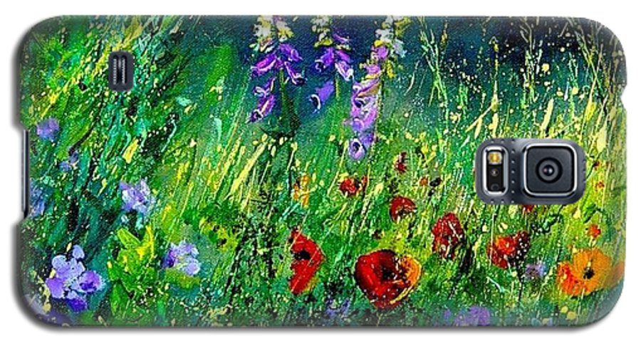 Poppies Galaxy S5 Case featuring the painting Wild Flowers by Pol Ledent