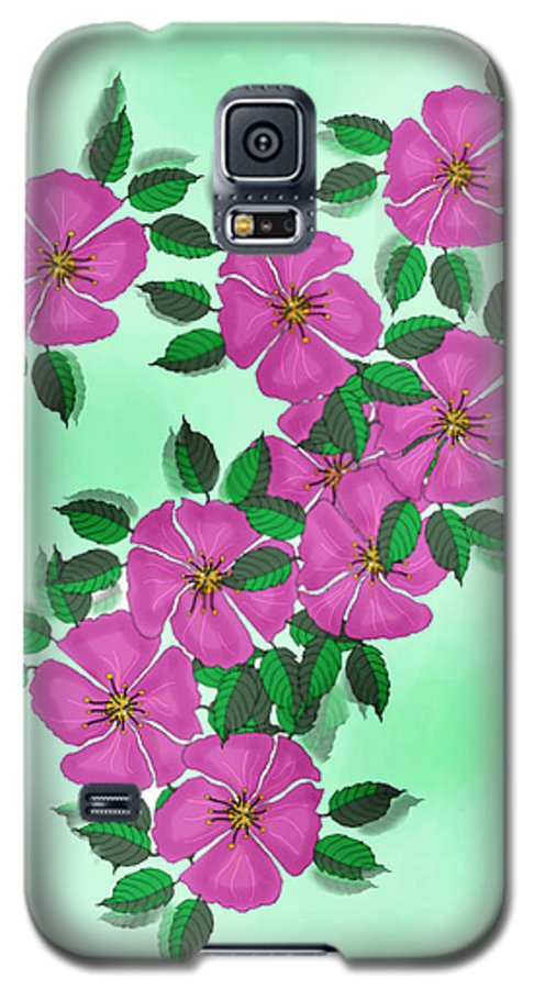 Floral Galaxy S5 Case featuring the painting Wild Roses by Anne Norskog