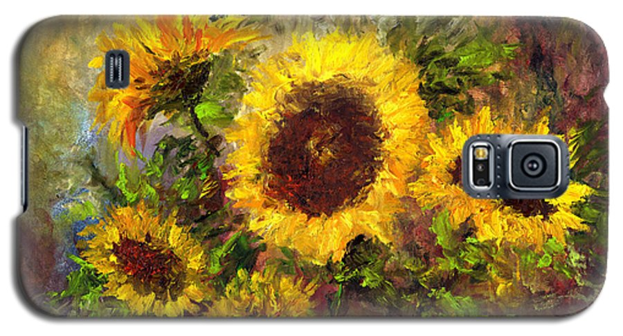 Vincent Van Gogh Galaxy S5 Case featuring the painting Wild Sun by Laura Swink