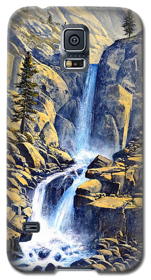 Wilderness Waterfall Galaxy S5 Case featuring the painting Wilderness Waterfall by Frank Wilson