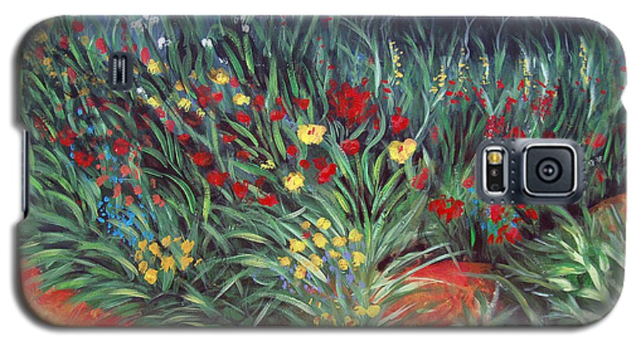 Landscape Galaxy S5 Case featuring the painting Wildflower Garden 2 by Nancy Mueller