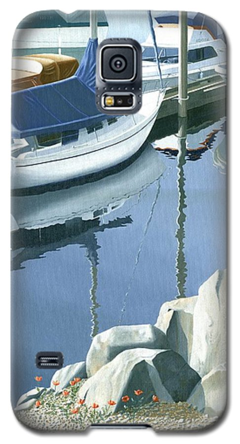 Sailboat Galaxy S5 Case featuring the painting Wildflowers On The Breakwater by Gary Giacomelli