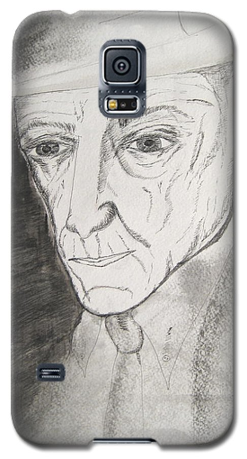 23 Author Black Burroughs Enigma Ink Man Music Painting Portrait Revolutionary Watercolor William Galaxy S5 Case featuring the painting William S. Burroughs by Darkest Artist