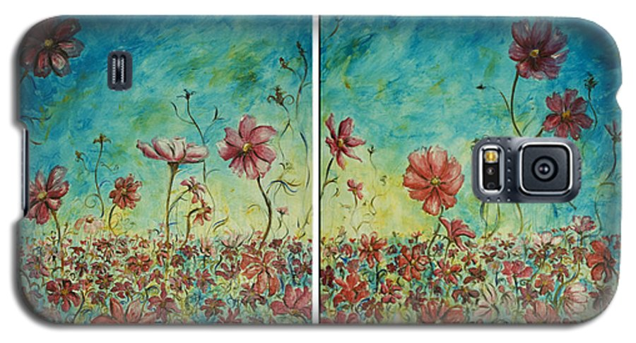 Flowers Galaxy S5 Case featuring the painting Wind Dancers by Nik Helbig