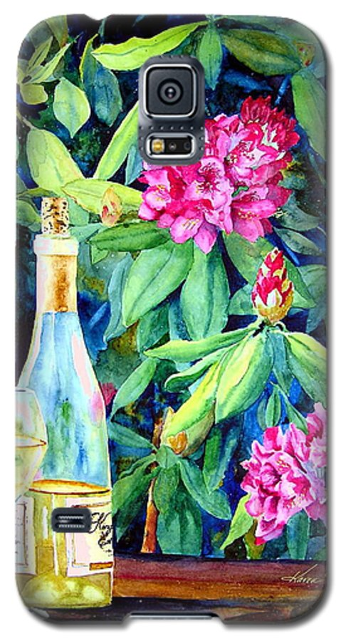 Rhododendron Galaxy S5 Case featuring the painting Wine And Rhodies by Karen Stark
