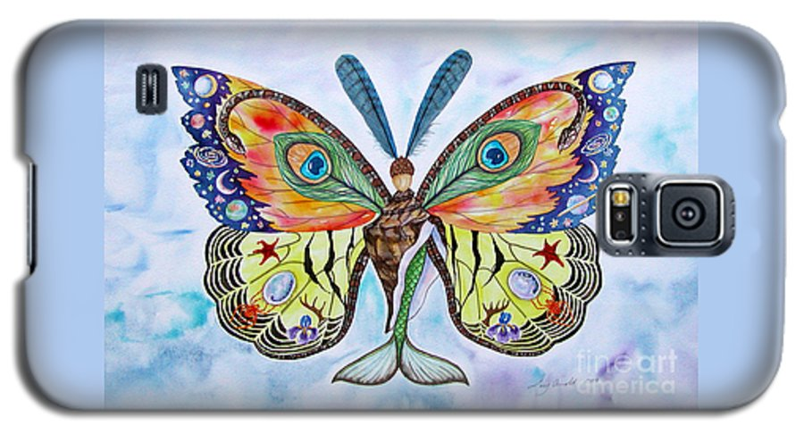 Butterfly Galaxy S5 Case featuring the painting Winged Metamorphosis by Lucy Arnold