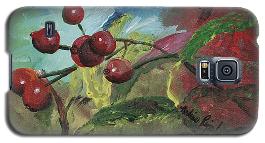 Berries Galaxy S5 Case featuring the painting Winter Berries by Nadine Rippelmeyer
