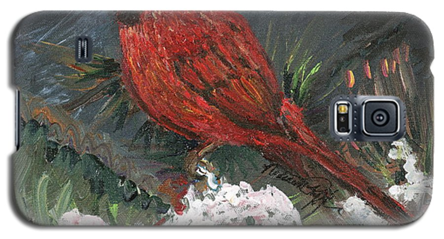 Bird Galaxy S5 Case featuring the painting Winter Cardinal by Nadine Rippelmeyer