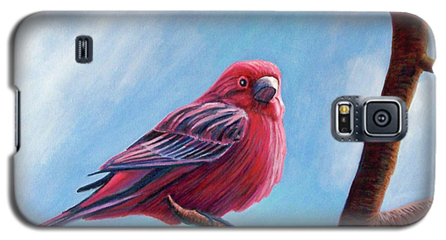 Bird Galaxy S5 Case featuring the painting Winter Finch by Brian Commerford