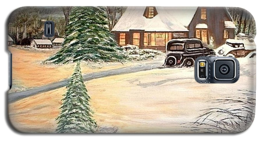Landscape Home Trees Church Winter Galaxy S5 Case featuring the painting Winter Home by Kenneth LePoidevin