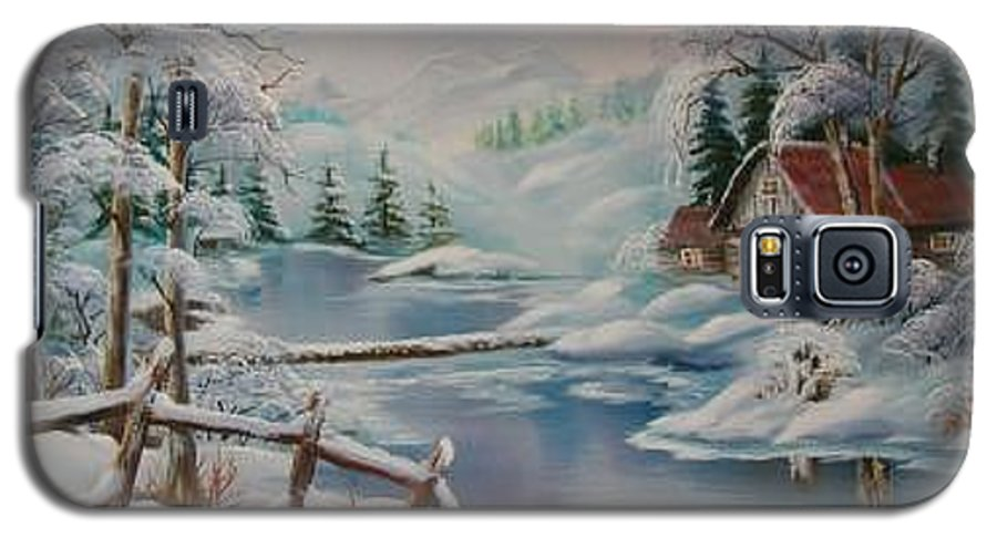Winter Scapes Galaxy S5 Case featuring the painting Winter In The Valley by Irene Clarke