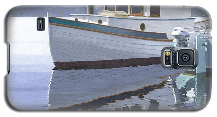 Marine Galaxy S5 Case featuring the painting Winter Moorage by Gary Giacomelli
