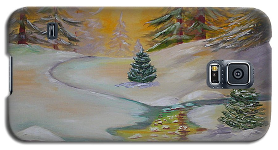 Winter Galaxy S5 Case featuring the painting Winter by Quwatha Valentine