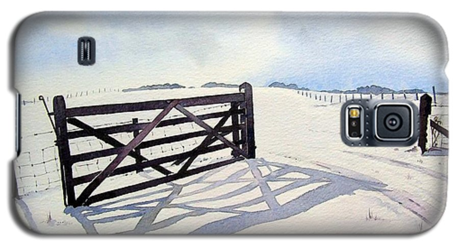 Landscape Galaxy S5 Case featuring the painting Winter Scene With Gate by Paul Dene Marlor