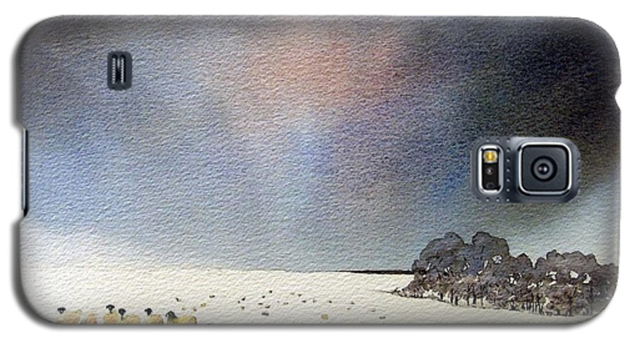 Landscape Galaxy S5 Case featuring the painting Winter Snow Swaledale by Paul Dene Marlor