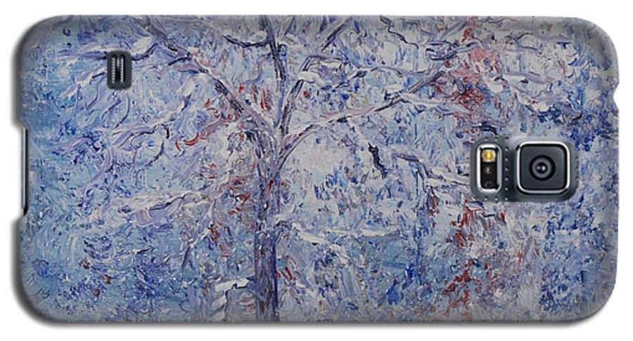 Winter Galaxy S5 Case featuring the painting Winter Trees by Nadine Rippelmeyer