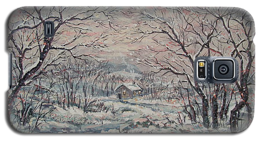 Landscape Galaxy S5 Case featuring the painting Wintery December by Leonard Holland