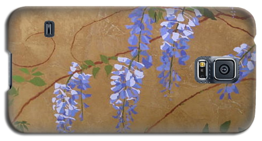 Periwinkle Wisteria Flowers Galaxy S5 Case featuring the painting Wisteria by Leah Tomaino