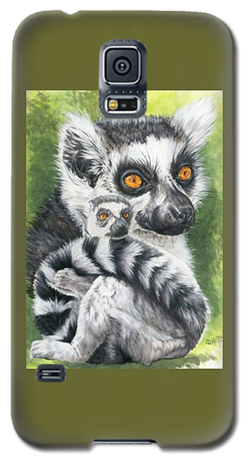 Lemur Galaxy S5 Case featuring the mixed media Wistful by Barbara Keith