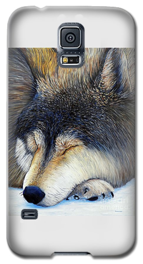 Wolf Galaxy S5 Case featuring the painting Wolf Dreams by Brian Commerford