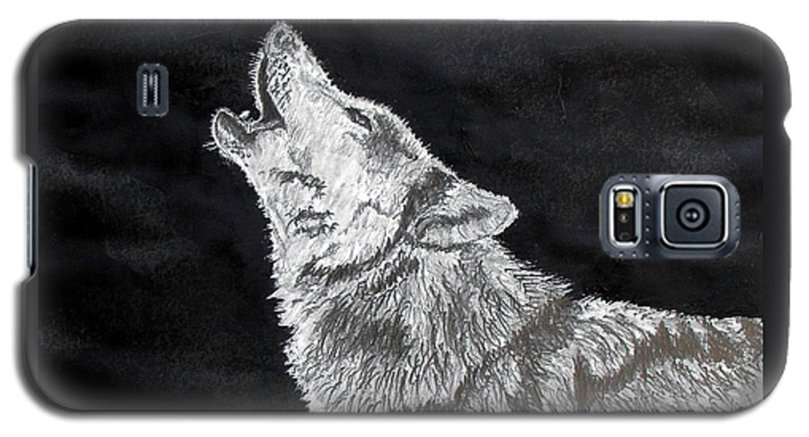 Pencil Galaxy S5 Case featuring the drawing Wolf Howl by Stan Hamilton