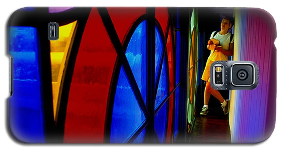 Colorful Galaxy S5 Case featuring the photograph Woman And Stained Glass by Carl Purcell