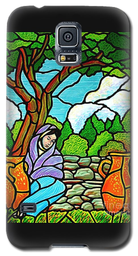 Women Galaxy S5 Case featuring the painting Woman At The Well by Jim Harris