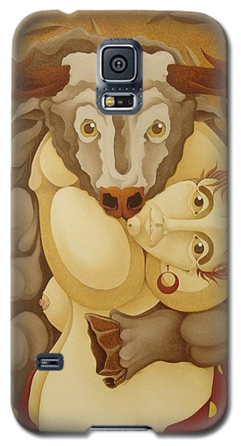 Sacha Galaxy S5 Case featuring the painting Woman Embracing Bull 2005 by S A C H A - Circulism Technique