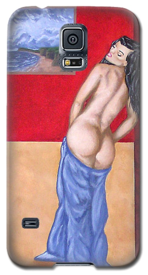 Nude Galaxy S5 Case featuring the painting Woman In Blue Robe by Adam Johnson
